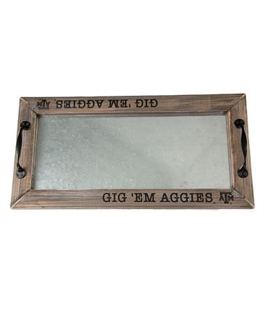 Texas A&M Gig Em Aggies Tray Wood