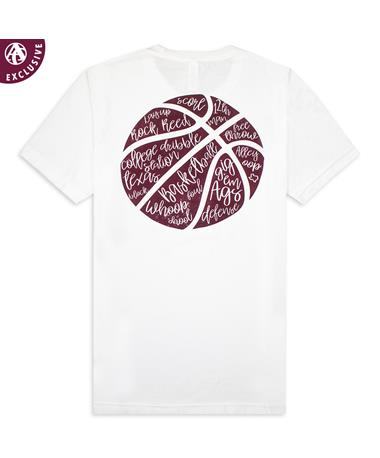 Texas A&M Basketball Script T-Shirt 3650 White TriBlend