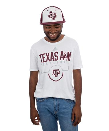 Texas A&M Adidas On Court Basketball Tee - Front White