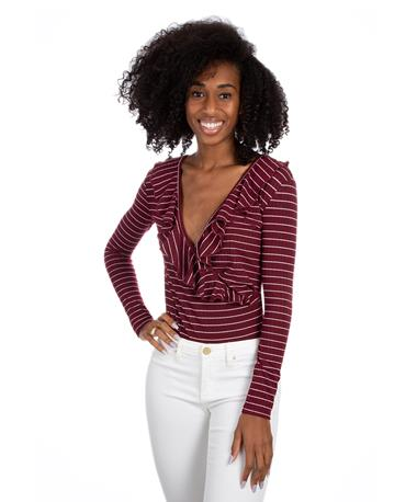 Maroon Striped Body Suit - Front Burgundy