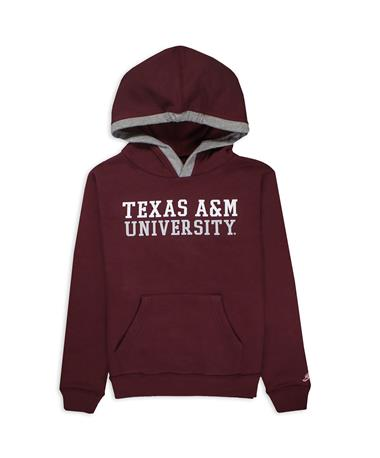 Texas A&M League Youth Fleece-Lined Hoodie - Front Maroon