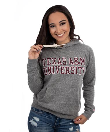 League Texas AM Victory Springs Pullover-front Grey