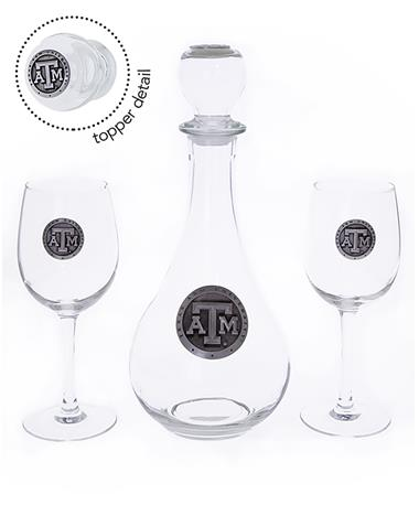 Texas A&M Wine Boxed Decanter Set Clear