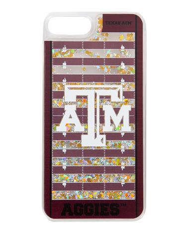Texas A&M Football Field Glitter iPhone 7+/8+ Case Gold Glitter/Maroon