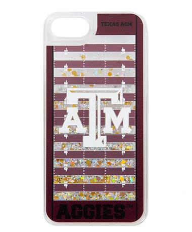 Texas A&M Football Field Glitter iPhone 6/7/8 Case Gold Glitter/Maroon