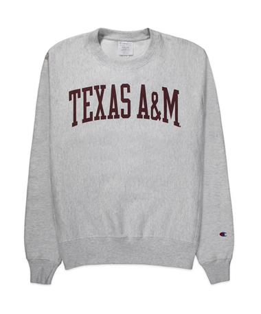 Texas A&M Champion Reverse Weave Crew - Grey - Front Grey