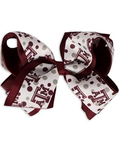 Texas A&M Polka Dot King Bow - Front TEXAS AM Maroon/ White