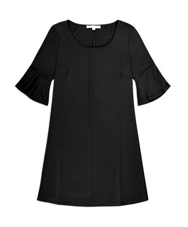 Black Bell Sleeve Pull Over Dress - Front Black