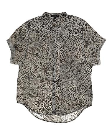 Button Down Cheetah Print Top - Front - Laid Flat Ivory Black Cheetah
