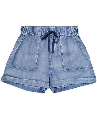 Flowy Tie Up Blue Jean Shorts - Front 405 Malibu Blue