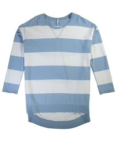 Rugby Stripe Weekender Long Sleeve - Laid Flat Dusty Blue