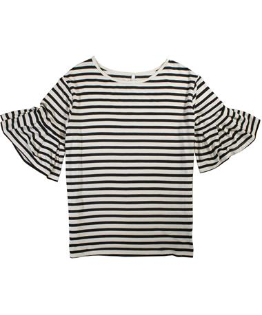 Black & White Striped Ruffle Tee - Laid Flat pearl/ black