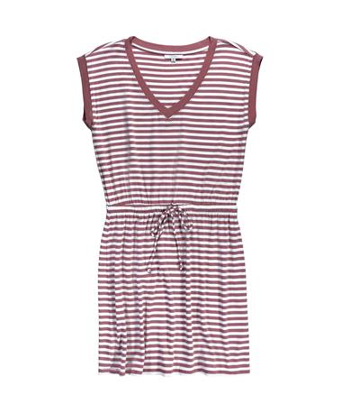 Striped Shirred Dress - Old Rose - Front Old Rose
