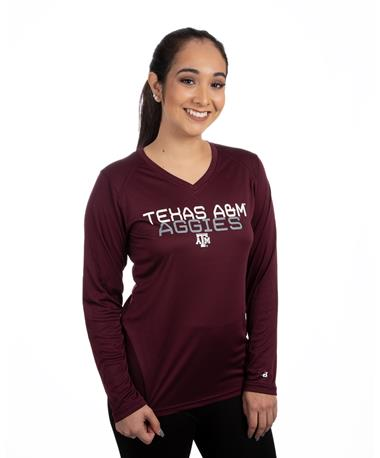 Texas A&M Women`s Badger Basic Ultimate Long Sleeve - Front Maroon