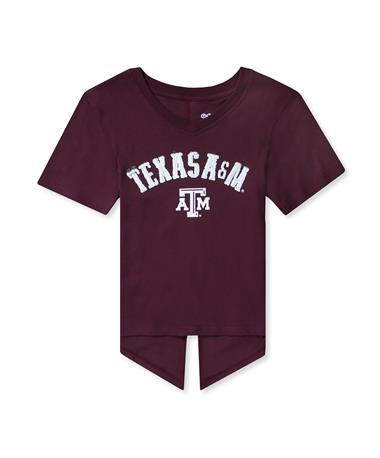 Texas A&M Show Love Youth SS V-Neck Tee-Front Maroon