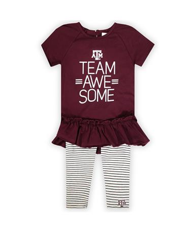 Texas A&M Awesome Kids Dress/Pant Set-Front Maroon/Grey