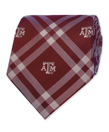 Texas A&M Rhodes Plaid Tie - Rolled Maroon/White
