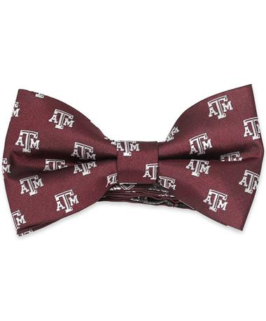 Texas A&M Repeating Pattern Bow Tie - Front Maroon/White