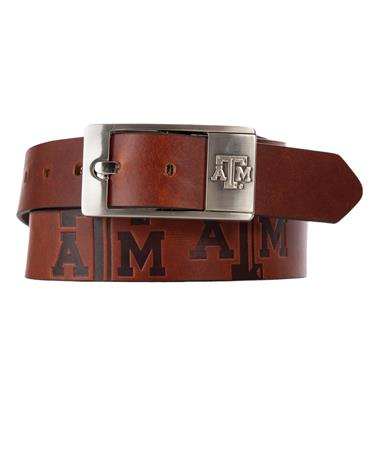 Texas A&M Brandish Leather Belt Brown Leather