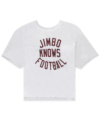 Jimbo Knows Football Women`s Crop with Raw Edge Crop Tee