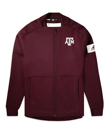 Texas A&M Adidas Game Mode Bomber Jacket - Maroon - Front Maroon
