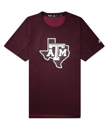 Texas A&M Adidas Game Mode Training Tee - Maroon - Front Maroon