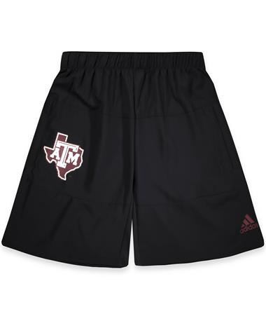 Texas A&M Adidas Game Mode Woven Shorts - Black - Front Black