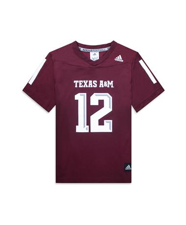 Texas A&M Adidas Youth Replica Football Jersey - Maroon - Front Maroon