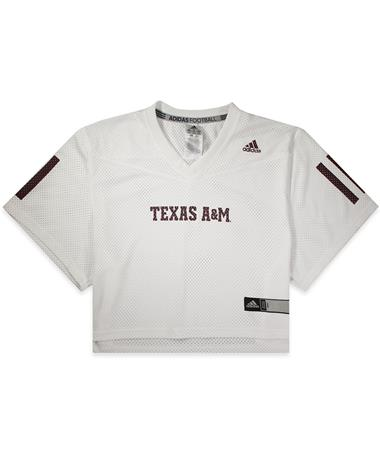 Texas A&M Adidas Women`s Crop Jersey - White - Front White
