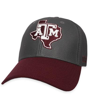 Texas A&M Adidas Coaches Structured Fitted Flex Cap - Grey/Maroon - Front Grey/Maroon