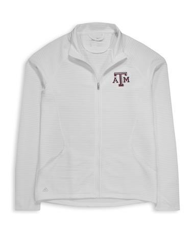 Texas A&M Adidas Women`s Textured Full Zip Jacket - White - Front White