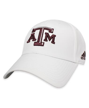 Texas A&M Adidas Structured Coaches Cap-Front White/Maroon