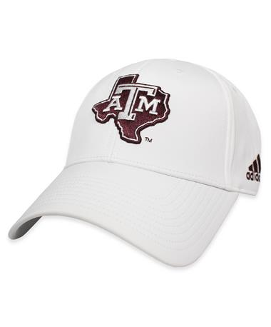 Texas A&M Adidas Coaches Lone Star Structured Cap-Front White/Maroon