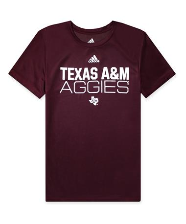 Texas A&M Adidas Youth Locker Stacked Amplifier Tee - Maroon - Front Maroon