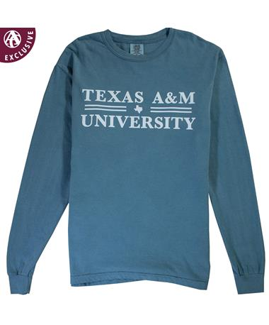 Texas A&M Double Line Texas Long Sleeve T-Shirt Ice Blue - C6014