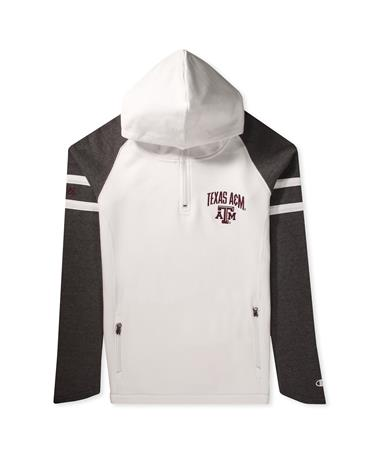 Texas A&M Super Fan Womens MTO 1/4 Zip Cowl Hood-Front White/Grey