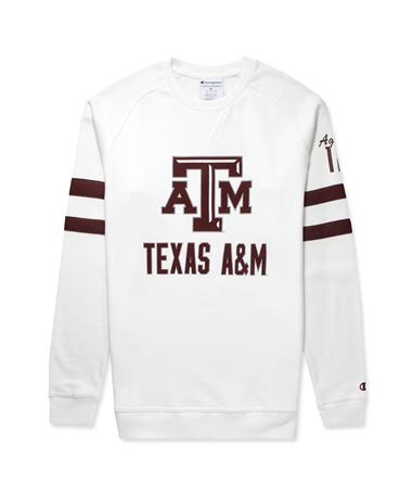 Texas A&M Champion Super Fan Men`s Crew-Front White/Maroon