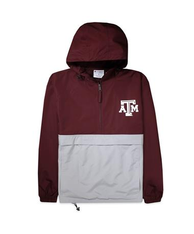 Texas A&M Aggies Champion Colorblock Packable Jacket - Maroon/Grey - Front Maroon/Grey