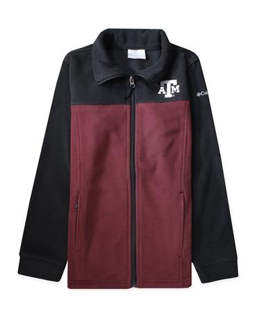 Texas A&M Columbia Flanker III Youth Jacket - Front Black/ Deep Maroon