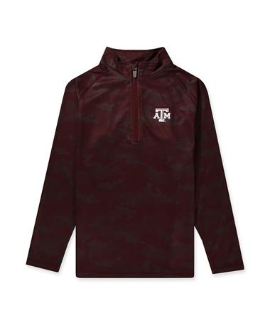 Texas A&M Ty Youth Brushed Camo 1/4 Zip Maroon