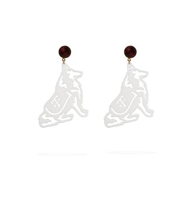 Texas A&M White Reveille Garnet Earrings - Front White