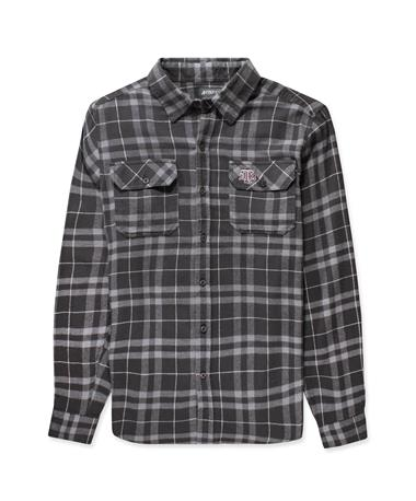 Texas A&M Stance Mens LS Flannel-Front Dark Grey/ Grey/ White