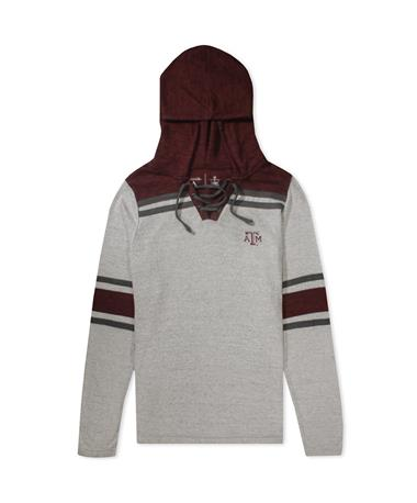 Texas A&M Antigua Wrestle Women`s Lace Up Long Sleeve - Front Grey Heather/ Maroon