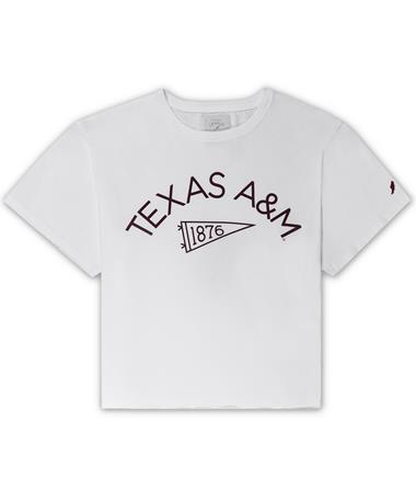 Texas A&M League Pennant Clothesline Cotton Crop Tee - White - Front White