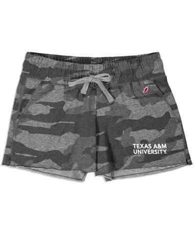 Texas A&M League Women`s Camo Shorts - Front Grey Camo