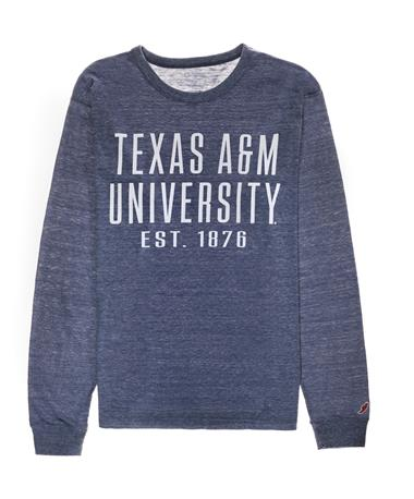 Texas A&M League Long Sleeve Twisted Triblend - Front Navy