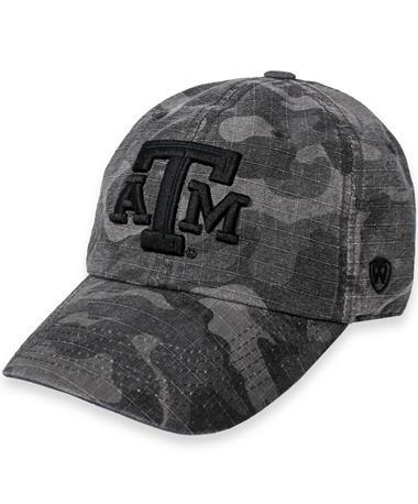 Texas A&M Camo Knight Cap Black Woodland Camo