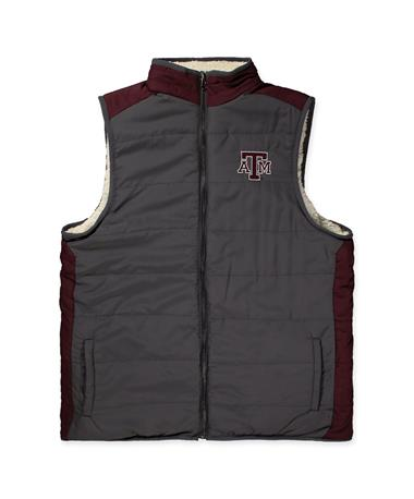 Texas A&M Blinky Mens Reversible Vest-Front Maroon/ Grey