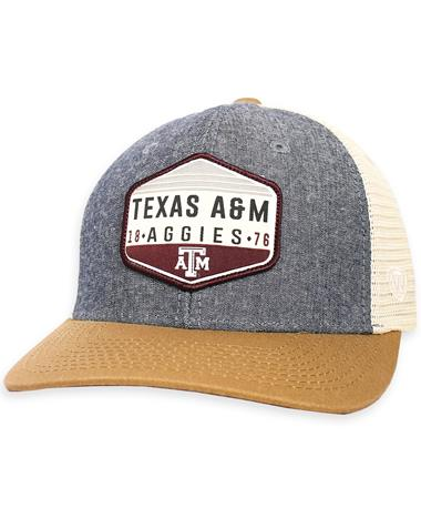 Texas A&M Aggies Wild Adjustable Cap - Front Grey Chambray/ Lt. Brown/ Ston