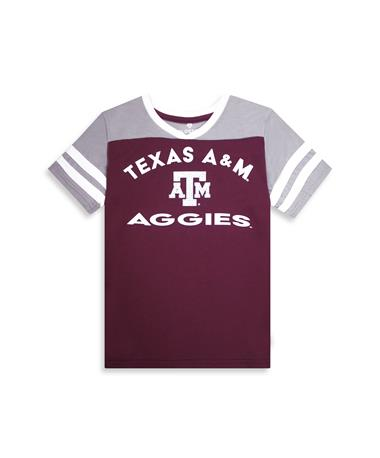 Texas A&M Aggies Colosseum Faboo V-Neck Tee - Front Maroon/ Grey